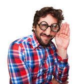 Crazy man trying to listen — Stock Photo