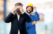 Senior cool man taking a picture — Stock Photo
