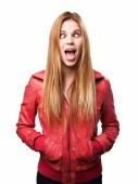 Blond woman joking — Stock Photo