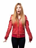 Blond woman surprised — Stock Photo