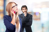Young cool woman speaking at phone — Stock Photo