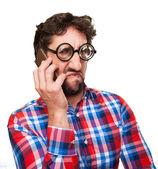 Gek boze man spreken op telefoon — Stockfoto