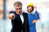 Angry boss pointing — Stock Photo