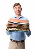 Blond man with archives — Stock Photo