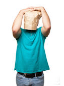 Loser man with a paper bag in his head — Стоковое фото