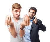 Blond man confused gesture — Stock Photo
