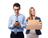 Businessman sending a message — Stock Photo
