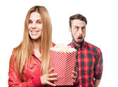 Blond woman with pop corns — Stock Photo