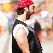 Motorbike vintage rider shouting angry — Stock Photo