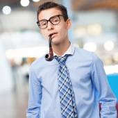 Businessman smoking — Stock Photo