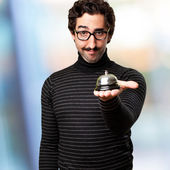 Pedantic man with a bell — Stock Photo