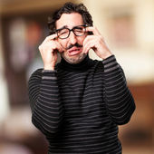 Pedantic man frustrated face — Stock Photo