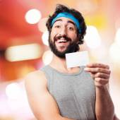 Sportsman with a name card — Stock Photo