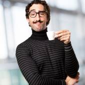 Pedantic man having a coffee — Stock Photo