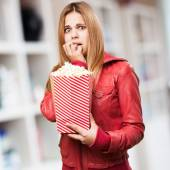 Mujer rubia con callos pop — Foto de Stock