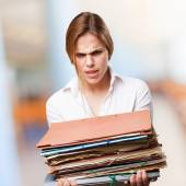 Blond woman with files — Stock Photo