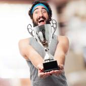 Sportsman with winner cup — Stock Photo