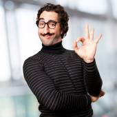 Pedantic man okay sign — Stock Photo