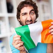 Crazy man with flag — Stock fotografie