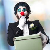 Clown with a box — Stock Photo
