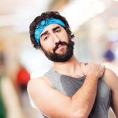 Sportman met pijn in de onderrug — Stockfoto