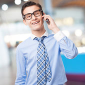 Businessman speaking on phone — Stock Photo