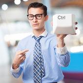Businessman remote control — Stock Photo