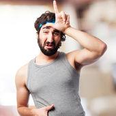 Crazy sportsman loser sign — Stock Photo