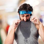 Sportsman sweating — Stock Photo
