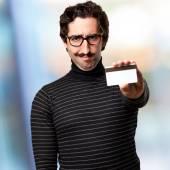 Pedantic man with credit card — Stock Photo