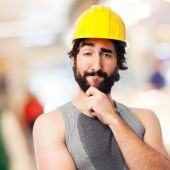 Builds worker thinking — Stock Photo