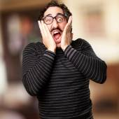 Pedantic man scared face — Stock Photo