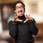 Pedantic man scared gesture — Stock Photo