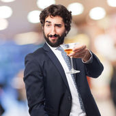 Businessman with a drink cup — Stock Photo