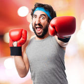 Crazy man boxing — Stock Photo
