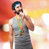 Sportsman with medals — Stock Photo