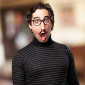 Pedantic man shock face — Stock Photo