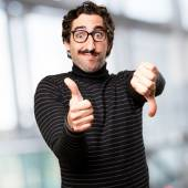 Pedantic man confused sign — Stock Photo