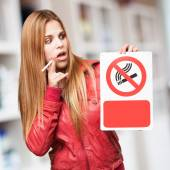 Blond woman no smoking — Stock Photo