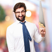 Businessman with a saw — Stock Photo