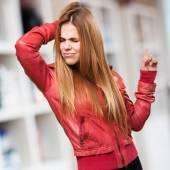 Blond woman dancing — Stock fotografie