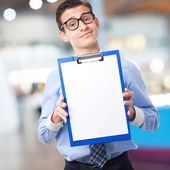 Businessman with archives — Stock Photo