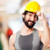 Happy builds worker — Stock Photo