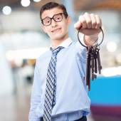 Businessman old keys — Stock Photo