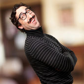 Pedantic happy man — Stock Photo