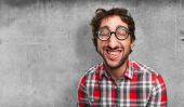 Crazy man laughing — Stock Photo