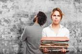 Blond boring woman with files — Stock Photo