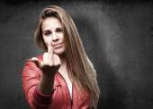 Blond woman disagree sign — Stock Photo