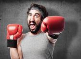 Crazy man boxing — Stock Photo