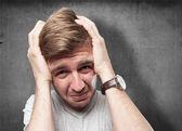 Blond sad man — Stock Photo